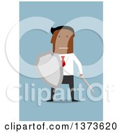 Clipart Of A Flat Design Black Business Man Holding A Sword And Shield On Blue Royalty Free Vector Illustration by Vector Tradition SM