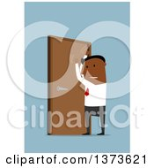 Clipart Of A Flat Design Black Business Man Pounding On A Door On Blue Royalty Free Vector Illustration