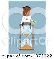 Clipart Of A Flat Design Black Business Man Holding Cash And Sitting On An Hourglass On Blue Royalty Free Vector Illustration
