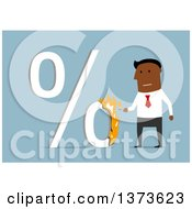 Clipart Of A Flat Design Black Business Man Lighting A Percent Symbol On Fire On Blue Royalty Free Vector Illustration