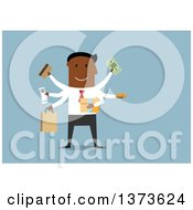 Clipart Of A Flat Design Black Business Man Multitasking And Shopping On Blue Royalty Free Vector Illustration by Vector Tradition SM