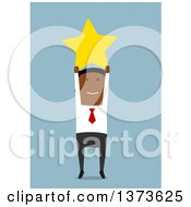 Clipart Of A Flat Design Black Business Man Holding Up A Star On Blue Royalty Free Vector Illustration