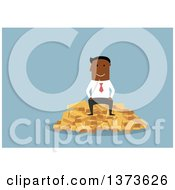 Flat Design Black Business Man Sitting On A Pile Of Gold Bullion Bars On Blue