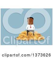 Flat Design Black Business Man Sitting On A Pile Of Gold Bullion Bars On Blue