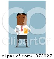 Clipart Of A Flat Design Black Business Man Holding A Beer And Fish On Blue Royalty Free Vector Illustration