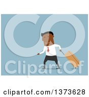 Clipart Of A Flat Design Black Business Man Walking With A Rolling Suitcase On Blue Royalty Free Vector Illustration