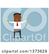 Clipart Of A Flat Design Black Business Man Holding Cash Money And A Scale On Blue Royalty Free Vector Illustration