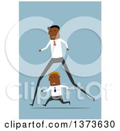 Clipart Of A Flat Design Long Legged Black Business Man Passing A Short Man On Blue Royalty Free Vector Illustration by Vector Tradition SM