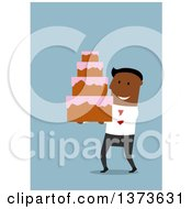 Clipart Of A Flat Design Black Business Man Carrying A Wedding Cake On Blue Royalty Free Vector Illustration