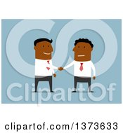 Clipart Of Flat Design Black Business Men Shaking Hands On Blue Royalty Free Vector Illustration by Vector Tradition SM