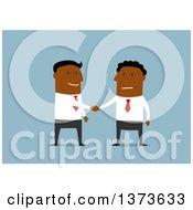 Poster, Art Print Of Flat Design Black Business Men Shaking Hands On Blue