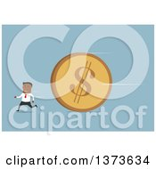 Clipart Of A Flat Design Black Business Man Running From A Giant Dollar Coin On Blue Royalty Free Vector Illustration