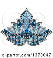 Clipart Of A Blue Henna Lotus Flower Royalty Free Vector Illustration by Vector Tradition SM