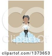Clipart Of A Flat Design Black Business Woman Sitting On A Pile Of Diamonds On Tan Royalty Free Vector Illustration