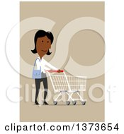 Clipart Of A Flat Design Black Business Woman Pushing A Shopping Cart On Tan Royalty Free Vector Illustration by Vector Tradition SM