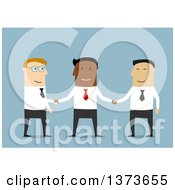 Clipart Of A Flat Design Team Of White Asian And Black Business Men Shaking Hands On Blue Royalty Free Vector Illustration