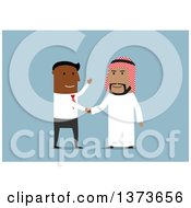 Clipart Of A Flat Design Black Business Man Shaking Hands With An Arabian Man On Blue Royalty Free Vector Illustration