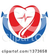 Clipart Of A Red Blood Drop With A Heart And Graph Over A Blank Blue Banner Royalty Free Vector Illustration