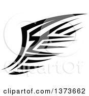 Clipart Of A Black And White Tribal Angel Or Bird Wing Royalty Free Vector Illustration
