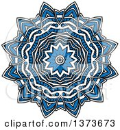 Clipart Of A Blue And White Kaleidoscope Flower Royalty Free Vector Illustration by Vector Tradition SM