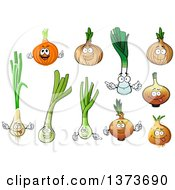 Clipart Of Onion And Leek Characters Royalty Free Vector Illustration by Vector Tradition SM
