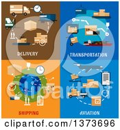 Clipart Of Delivery Transportation Shipping Aviation Designs With Text Royalty Free Vector Illustration