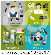 Clipart Of A Photographer Reporter Programmer And Musician With Text Royalty Free Vector Illustration by Vector Tradition SM