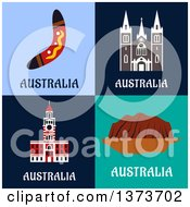 Clipart Of A Boomerang And Australian Landmarks Royalty Free Vector Illustration by Vector Tradition SM