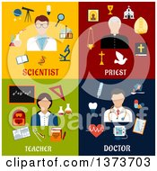 Clipart Of A Scientist Priest Teacher And Doctor With Text Royalty Free Vector Illustration by Vector Tradition SM