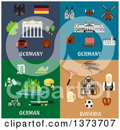 Clipart Of German Items And Landmarks With Text Royalty Free Vector Illustration