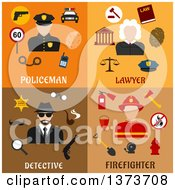 Clipart Of A Policeman Lawyer Detective And Firefighter With Text Royalty Free Vector Illustration by Vector Tradition SM