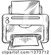 Clipart Of A Black And White Sketched Desktop Printer Royalty Free Vector Illustration by Vector Tradition SM