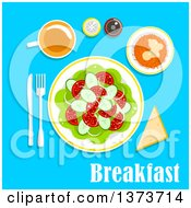 Poster, Art Print Of Vegetarian Breakfast Salad With A Cup Of Tea Bread Salt And Pepper Shakers With Text On Blue
