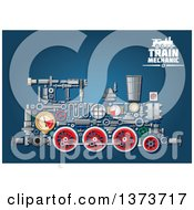 Clipart Of A Steam Engine Train With Visible Mechanical Parts And Text On Blue Royalty Free Vector Illustration by Seamartini Graphics