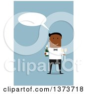 Clipart Of A Flat Design Black Happy Male Waiter Talking And Holding Champagne On Blue Royalty Free Vector Illustration by Vector Tradition SM