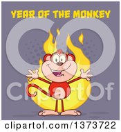 Cartoon Clipart Of A Happy Monkey Mascot With Flames And Year Of The Monkey Text On Purple Royalty Free Vector Illustration