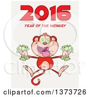Cartoon Clipart Of A Rich Monkey Holding Cash And Jumping With 2016 Year Of The Monkey Text On White Royalty Free Vector Illustration
