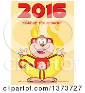 Cartoon Clipart Of A Happy Monkey Mascot With Flames And 2016 Year Of The Monkey Text On Yellow Royalty Free Vector Illustration