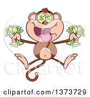 Cartoon Clipart Of A Rich Monkey Mascot With Dollar Eyes Holding Cash Money And Jumping Royalty Free Vector Illustration by Hit Toon