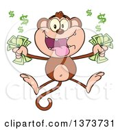 Cartoon Clipart Of A Rich Monkey Mascot Holding Cash Money And Jumping Royalty Free Vector Illustration by Hit Toon