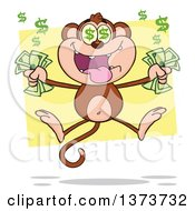Cartoon Clipart Of A Rich Monkey Mascot With Dollar Eyes Holding Cash Money And Jumping Over Yellow Royalty Free Vector Illustration by Hit Toon
