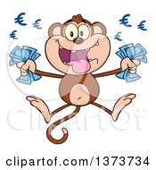 Cartoon Clipart Of A Rich Monkey Mascot Holding Euro Cash Money And Jumping Royalty Free Vector Illustration by Hit Toon