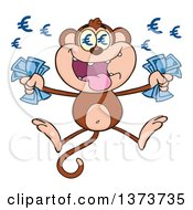 Cartoon Clipart Of A Rich Monkey Mascot With Euro Eyes Holding Cash Money And Jumping Royalty Free Vector Illustration by Hit Toon