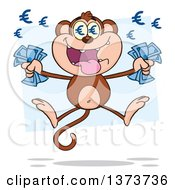 Cartoon Clipart Of A Rich Monkey Mascot With Euro Eyes Holding Cash Money And Jumping Over Blue Royalty Free Vector Illustration by Hit Toon