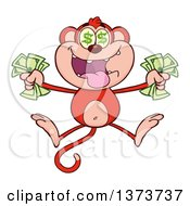 Cartoon Clipart Of A Rich Red Monkey Mascot With Dollar Eyes Holding Cash Money And Jumping Royalty Free Vector Illustration by Hit Toon