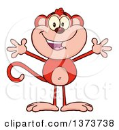 Cartoon Clipart Of A Happy Red Monkey Mascot With Open Arms Royalty Free Vector Illustration by Hit Toon