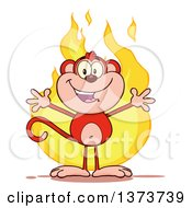 Cartoon Clipart Of A Happy Red Monkey Mascot With Open Arms Over Flames Royalty Free Vector Illustration by Hit Toon
