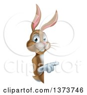 Clipart Of A Happy Brown Bunny Rabbit Pointing Around A Sign Royalty Free Vector Illustration