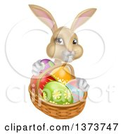 Clipart Of A Happy Beige Easter Bunny With A Basket Of Eggs Royalty Free Vector Illustration