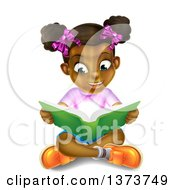 Amazed Black Girl Sitting On The Floor And Reading A Book With Light Glowing From The Pages